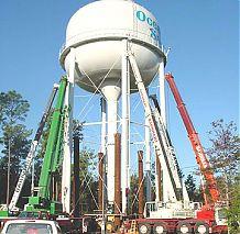 Tank raising 40 feet to increase system pressure.
